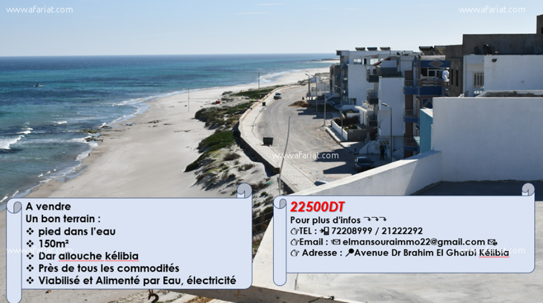 إعلان على أفاريات تونس ل: اراضي على البحر في دار علوش بلاصة مزيانة